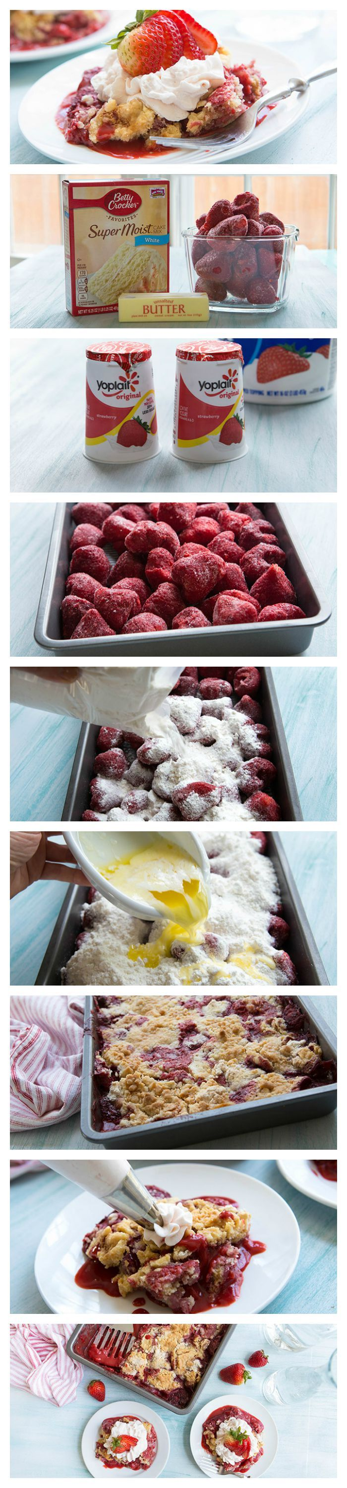 Tangy strawberries are baked beneath a crunchy, buttery layer of vanilla cake mix, and then topped with a strawberry yogurt whipped topping in this quick-and-easy cobbler style cake.