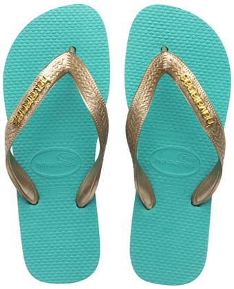 turquoise and golden havianas