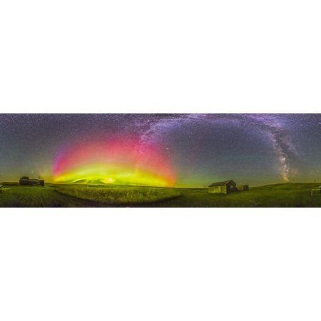 Panorama of an aurora and the Milky Way at a ranch in Canada Canvas Art - Alan DyerStocktrek Images (26 x 8)