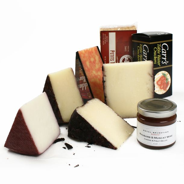 Wine Washed Cheese Assortment by igourmet - Includes: Briscole al Barbera (8 oz.), Ubriaco Tramonto Rosso (8 oz.), Brillo Pecorino DiVino (8 oz.), Murcia al Vino (8 oz.), Cheddar and Claret (8 oz.), Rhubarb and Muscat Wine Compote by Belberry (4.5 oz.), Carr's Table Water Crackers (2.2 oz.), and Mini Toasts (2.8 oz.).