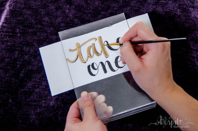 DIY Gilded acrylic signs for weddings and events- buy acrylic, print off the font, and DIY