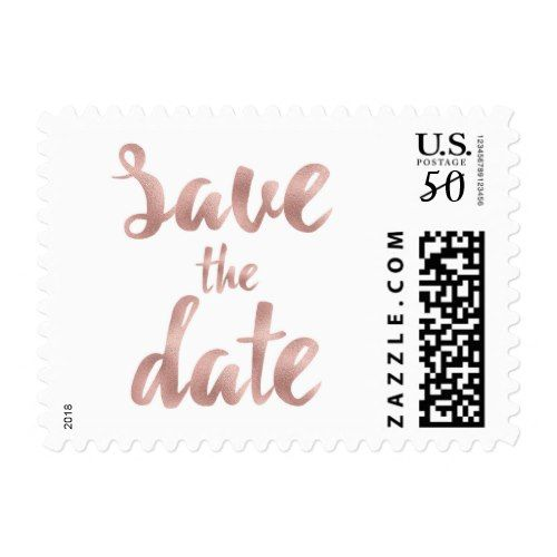 Rose Gold Save The Date Stamps Small Postage