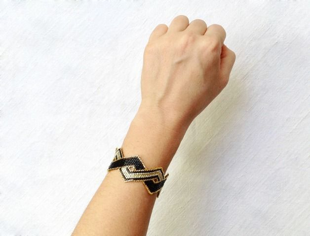 READY TO SHIP  Very delicate and beautiful gold and black bracelet made with Miyuki beads. Black and gold Geometric bracelet. Minimal and Modern. Simple yet chic and pretty.  Other colors...
