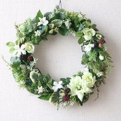 通年飾れる♪グリーンのナチュラルリース<ラウンド>