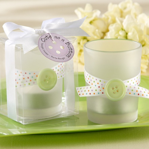 Cute as a Button Glass Tea Light Holders by Beau-coup    Great idea for baby shower favors.