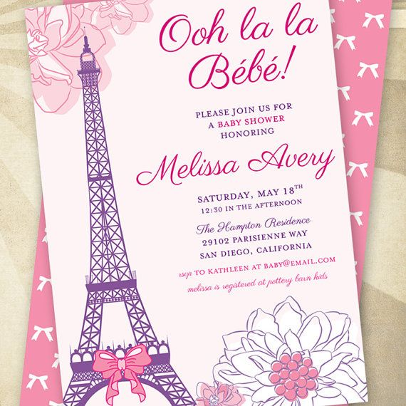 CUSTOM Paris Baby Shower PRINTABLE Invitation