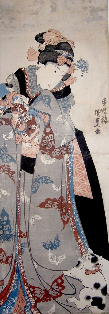 Utagawa Kunisada, 歌川 国貞; also known as Utagawa Toyokuni III (三代歌川豊国), (1786-1865). He was the most popular, prolific and financially successful designer of ukiyo-e woodblock prints in 19th-century Japan. In his own time, his reputation far exceeded that of his contemporaries, Hokusai, Hiroshige and Kuniyoshi.