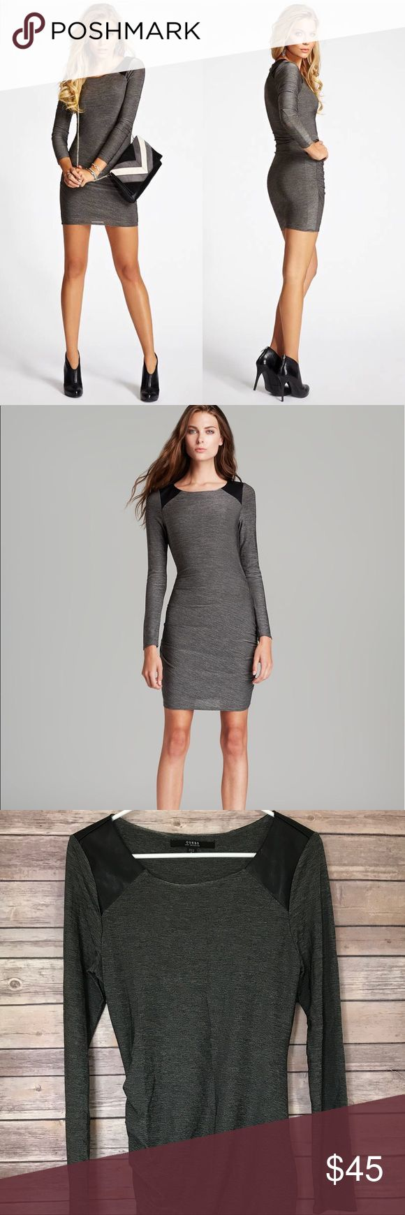 "Guess Gray Bodycon tight dress long sleeves Measurements taken laying flat: Armpit to armpit-15.5"" Length-35"" Slinky jersey stretches to show off your sexy curves in this night-out-ready dress. Style it with leather booties to play up the contrast panels and capture a rocker-chic look that won't go unnoticed.   • Stretch jersey dress.Formfitting.  • Marled texture. Faux-leather shoulder panels. Ruched at sides of skirt.  • Slips on. Self lining.  • 56% Rayon Viscose, 35% Polyester, 9%…"