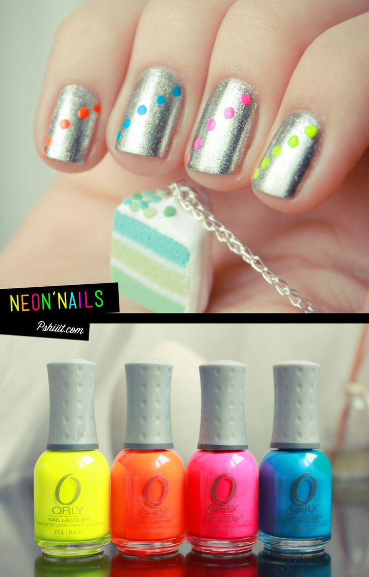 .Polka Dots, Nails Art, Nails Design, Nails Colors, Silver Nails, Metals Nails, Neon Colors, Nails Polish, Neon Nails