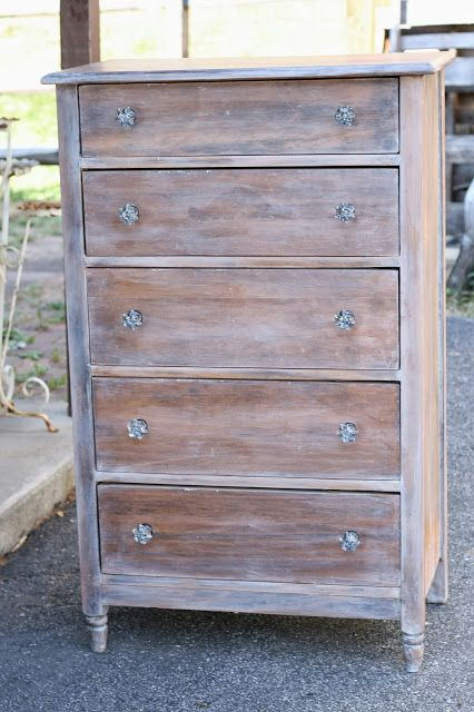 Rustic Glam Washed Dresser with Gorgeous Glass Knobs - Primitive and Proper