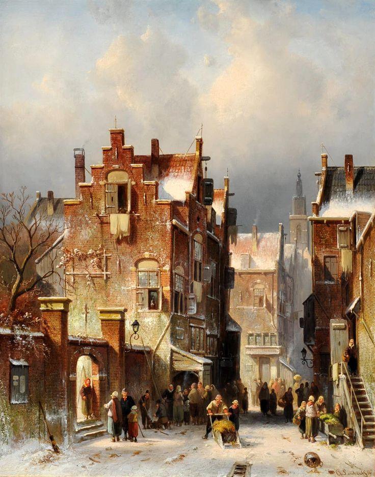 Charles Leickert - Winters stadsgezicht (2)