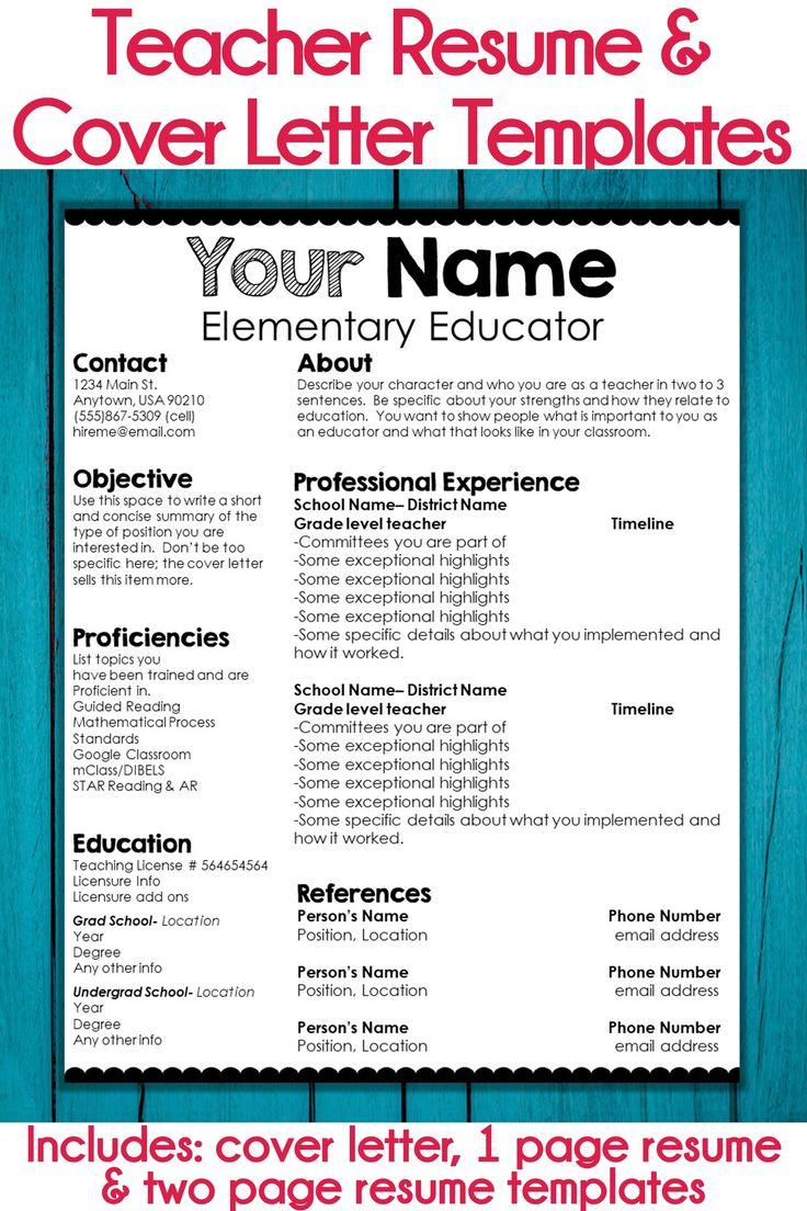 Editable teacher resume and cover letter template