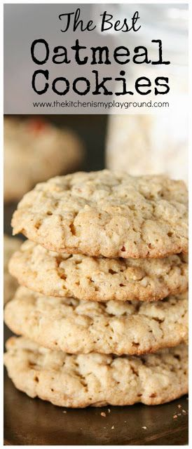 The BEST Oatmeal Cookies ~ bring together great thickness, soft and chewy middles, great texture, and fantastic flavor in these oatmeal cookies!  www.thekitchenismyplayground.com