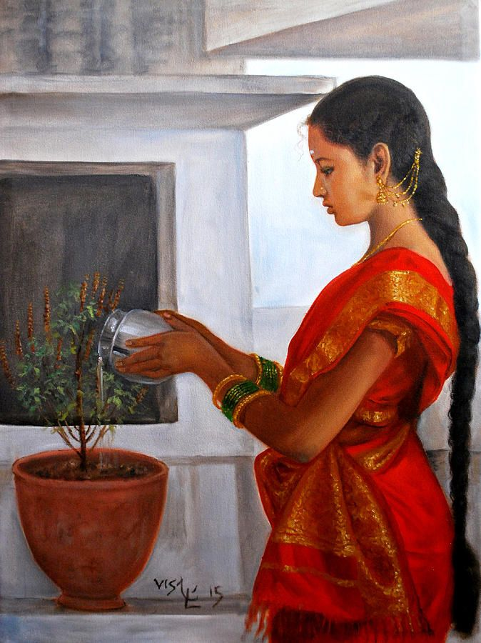 Tamil Girl Tulasi Pooja Painting by Vishalandra Dakur