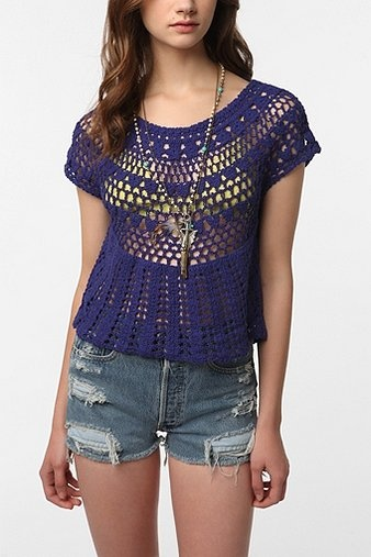 Ecote Crocheted Tieback Top CROCHET AND KNIT INSPIRATION: http://pinterest.com/gigibrazil/crochet-and-knitting-lovers/ .