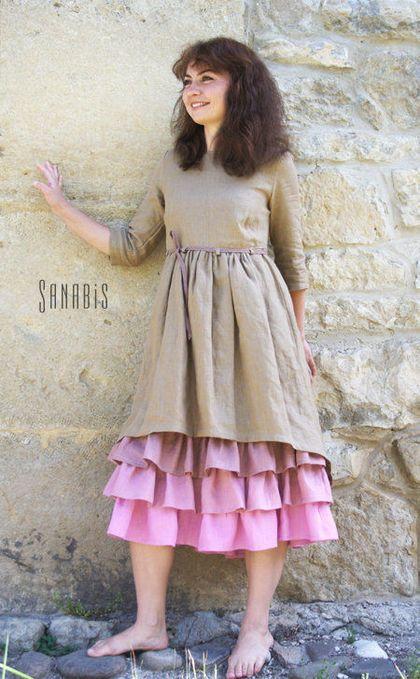 Платья ручной работы. Многослойное платье из льна «Чайная роза». Ксения…