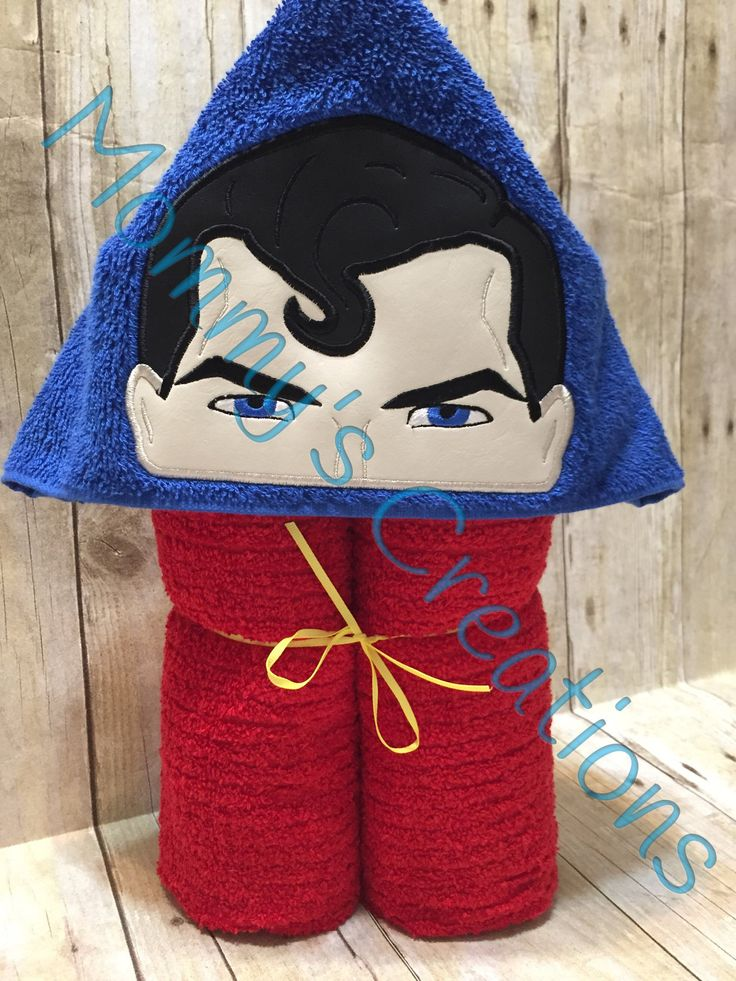 """Steel Hero Applique Hooded Bath Towel, beach Cover Up 30"""" x 54"""" Symbol Add On Available by MommysCraftCreations on Etsy"""