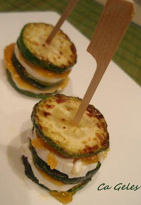 Zucchini goat cheese and orange marmalade