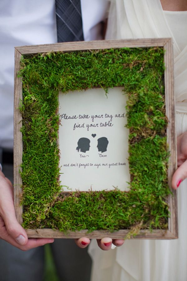 diy-moss frame: Diy Ideas, Decor, Wedding Ideas, Moss Frames, Moss Picture, Picture Frames, Craft Ideas, Diy Projects