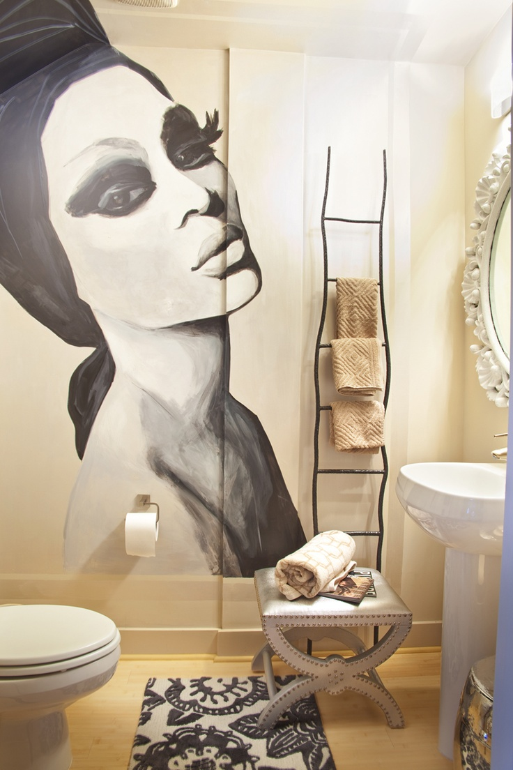 Rue Magazine (January 2012 Issue). Photography by Ron Royals. Styling by Lisa Sherry.: Decor, Ideas, Ladder Towels Racks, Interiors Design, Bathroom Wall, Murals, Wall Paintings, Contemporary Bathroom, Powder Rooms
