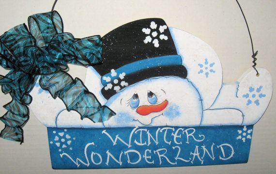 Winter Door Decor Snowman Door CoutureWinter by jusbcuz on Etsy