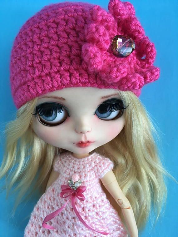 Cute hat for Blythe doll with crystal bead and large crystal faceted bead  HOT PINK HAT FOR BLYTHE  https://www.etsy.com/ca/listing/563612310/blythe-cute-hat-for-blythe-doll-with?ref=shop_home_active_4  by FuzziFlower