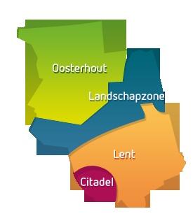 De Waalsprong bestaat uit vier wijken: Oosterhout, Landschapzone, Lent en de Citadel  www.waalsprong.nl