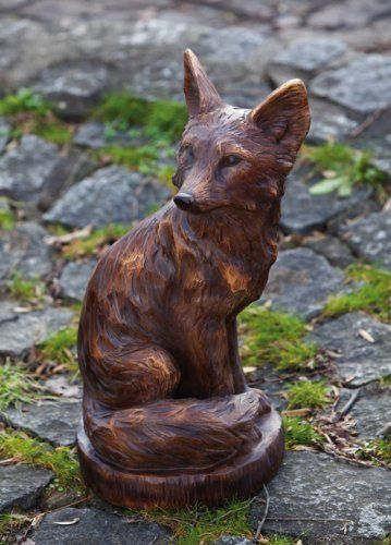 """This would be gorgeous made out of wood. 19.7"""" Country Cabin Brown Faux Wood Sitting Fox Decorative Garden Figure by New Creative. $119.99. From the Country Cabin CollectionItem #843127Sitting fox figure features a hand-carved appearanceFeatures a pine cone design along the back Dimensions: 19.7""""H x 11.25""""W x 9.45""""DMaterial(s): polystone"""