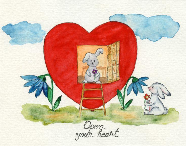 Open your heart. #story #love #heart #bunny #watercolour #cute