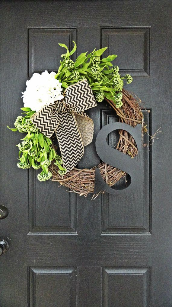 Spring and Summer Wildflower, Hydrangea, and Chevron Burlap Wreath With Black Monogram, Spring Hydrangea Wreath. Year Round Wreath