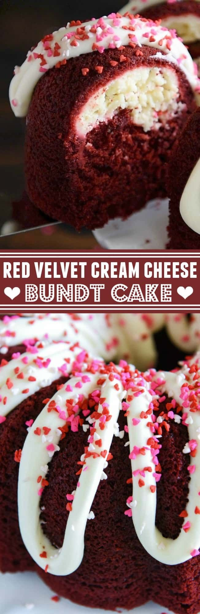 Red Velvet Cream Cheese Bundt Cake: this moist red velvet bundt cake is swirled with a sweet cream cheese filling and topped with a whipped cream cheese frosting!