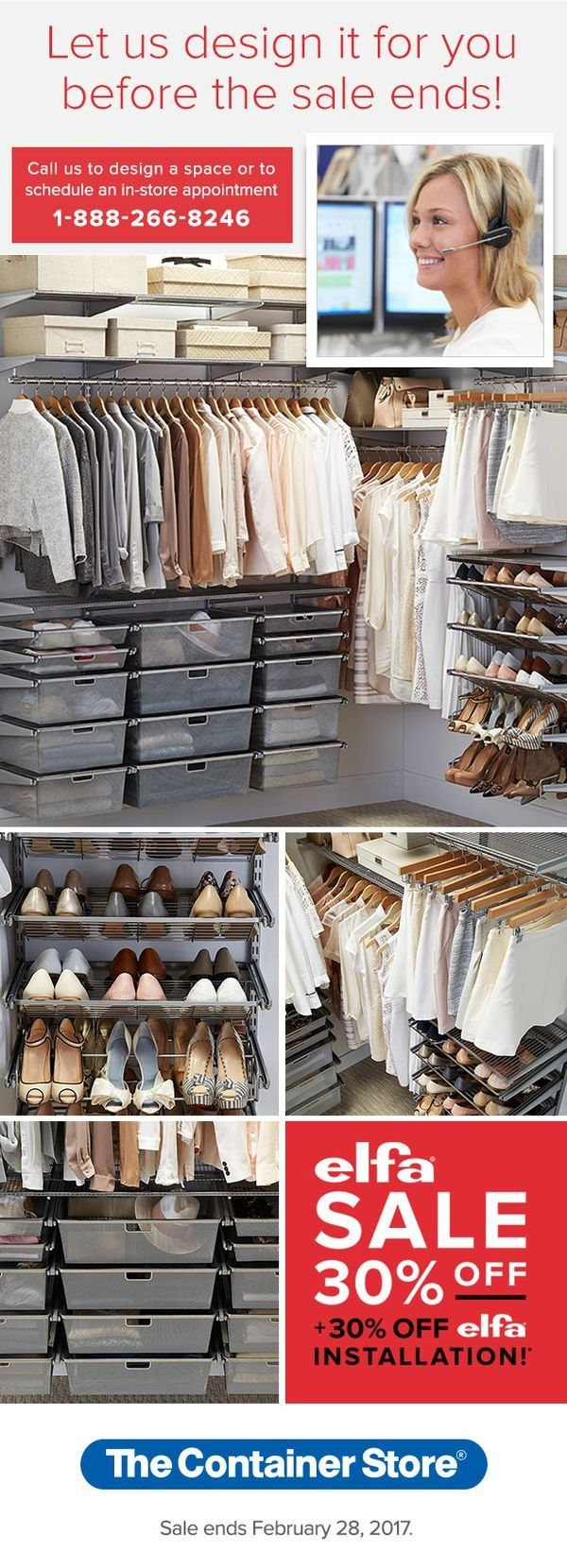 From The Container Store · Let Us Design Your New Closet For FREE! Call Or  Stop In And Let Our