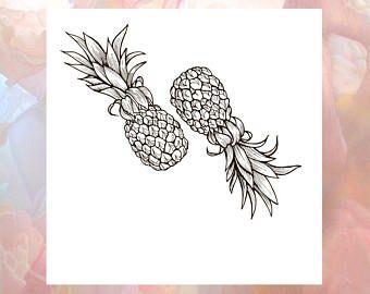 Pineapple tattoos   Etsy
