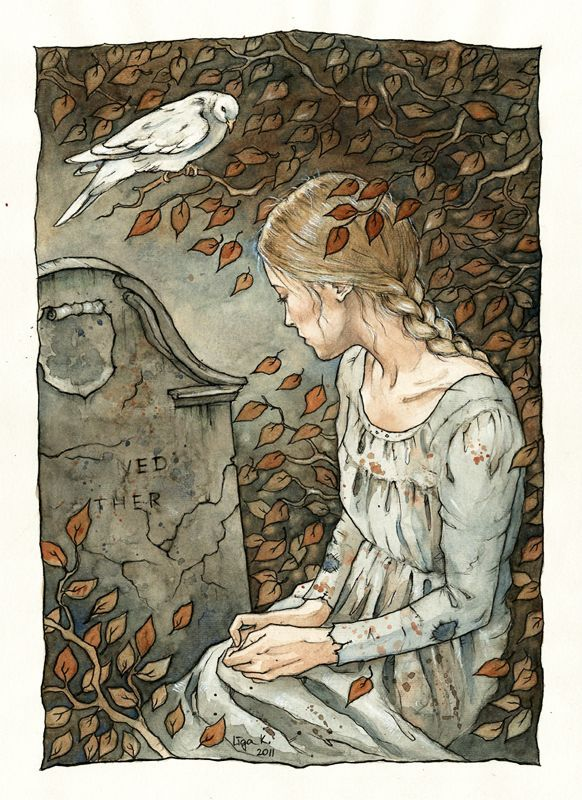 "by ~liga-marta  Traditional Art / Paintings / Illustration / Storybook  Cinderella at her mother`s grave.  illustration for Brothers Grimm`s fairy tale ""Cinderella""      watercolor + ink"