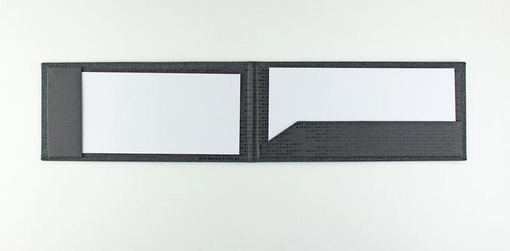 Bill Presenter   Landscape - Linen Pfeffer - Horizontal Strip Pocket - Vertical Strip Pocket