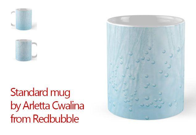 "Standard Mug with ""Blue water air bubbles closeup"" by Arletta Cwalina from Redbubble. #mug"
