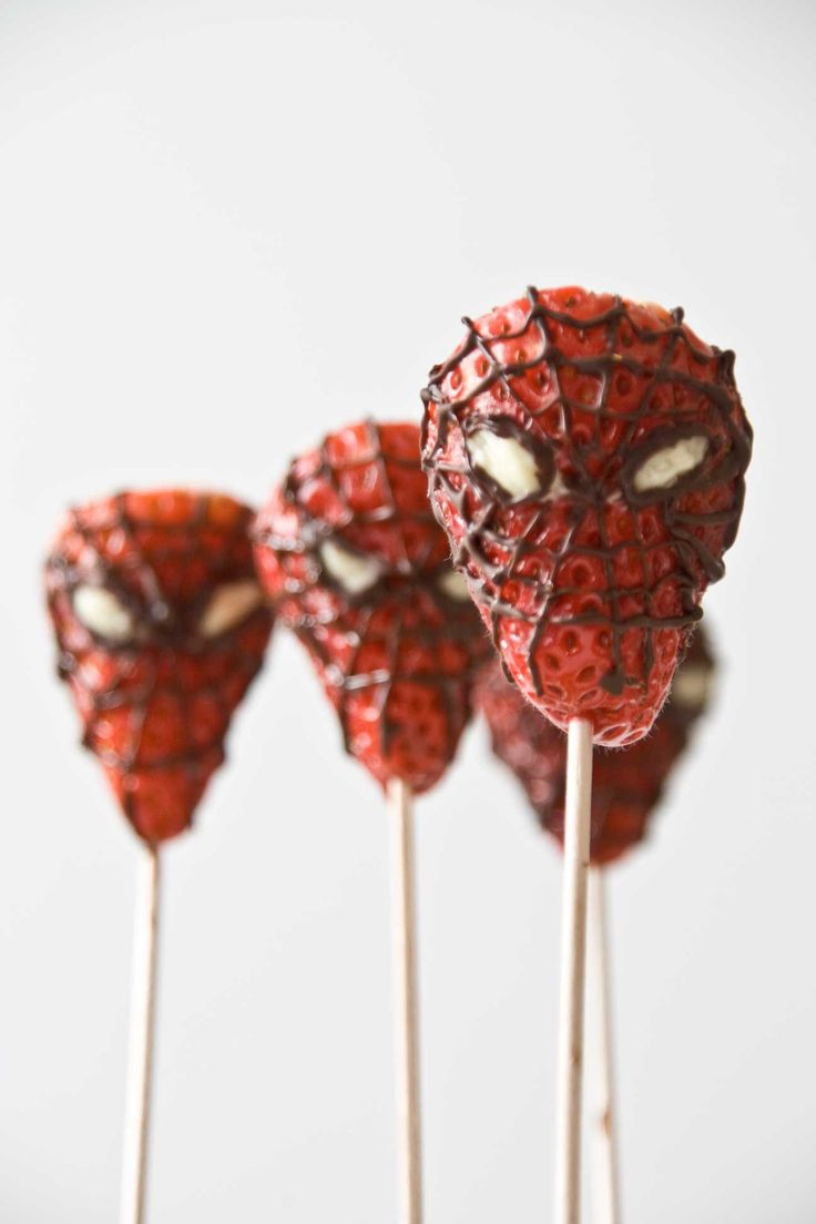 #Spiderman strawberries by #littlecook