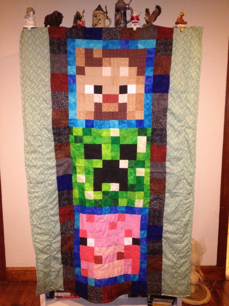 Minecraft quilt: Start Quilts, Gus S Quilts, Sewing Quilts, Quilts Blocks, Excel Ideas, Minecraft Quilts, Beds Runners, Minecraft Nerderi, Minecraft Wall