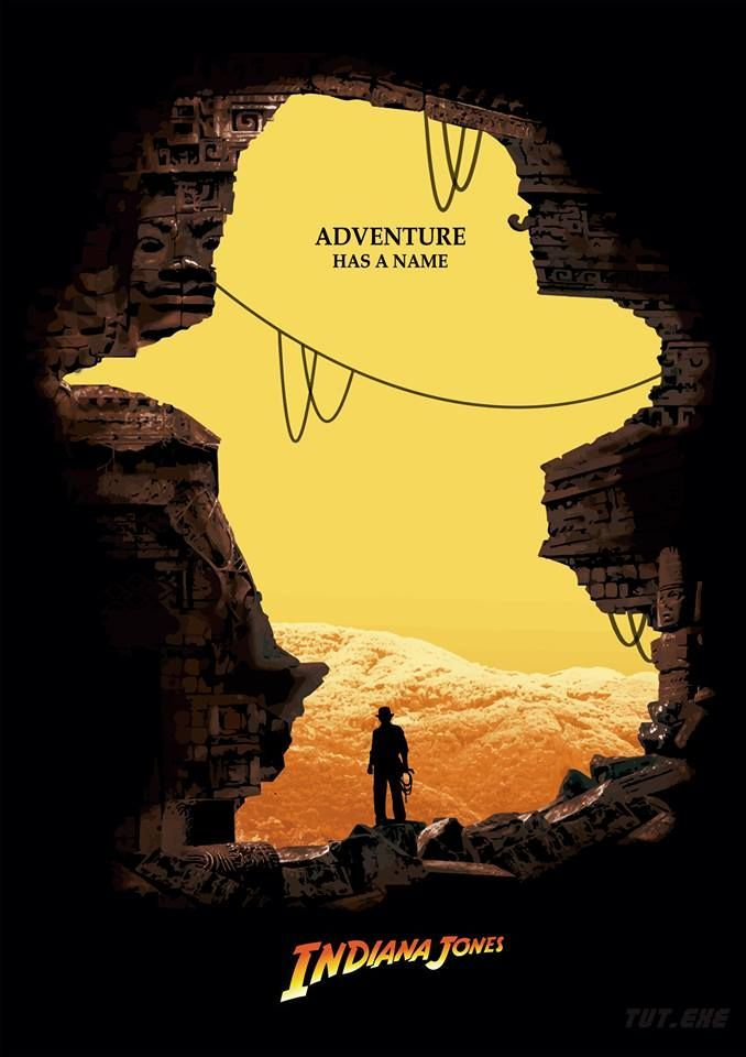 Adventure has a name: Indiana Jones - Graphic Design - Poster, Movie, Adventure, Mountains. Cave, Cavern, Rocks, Ropes, Adventurer, Silhouette, Negative Space Brown, Grey, Orange, Yellow