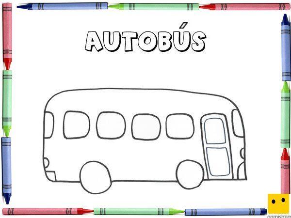 Dibujo para colorear con los niños de un autobús