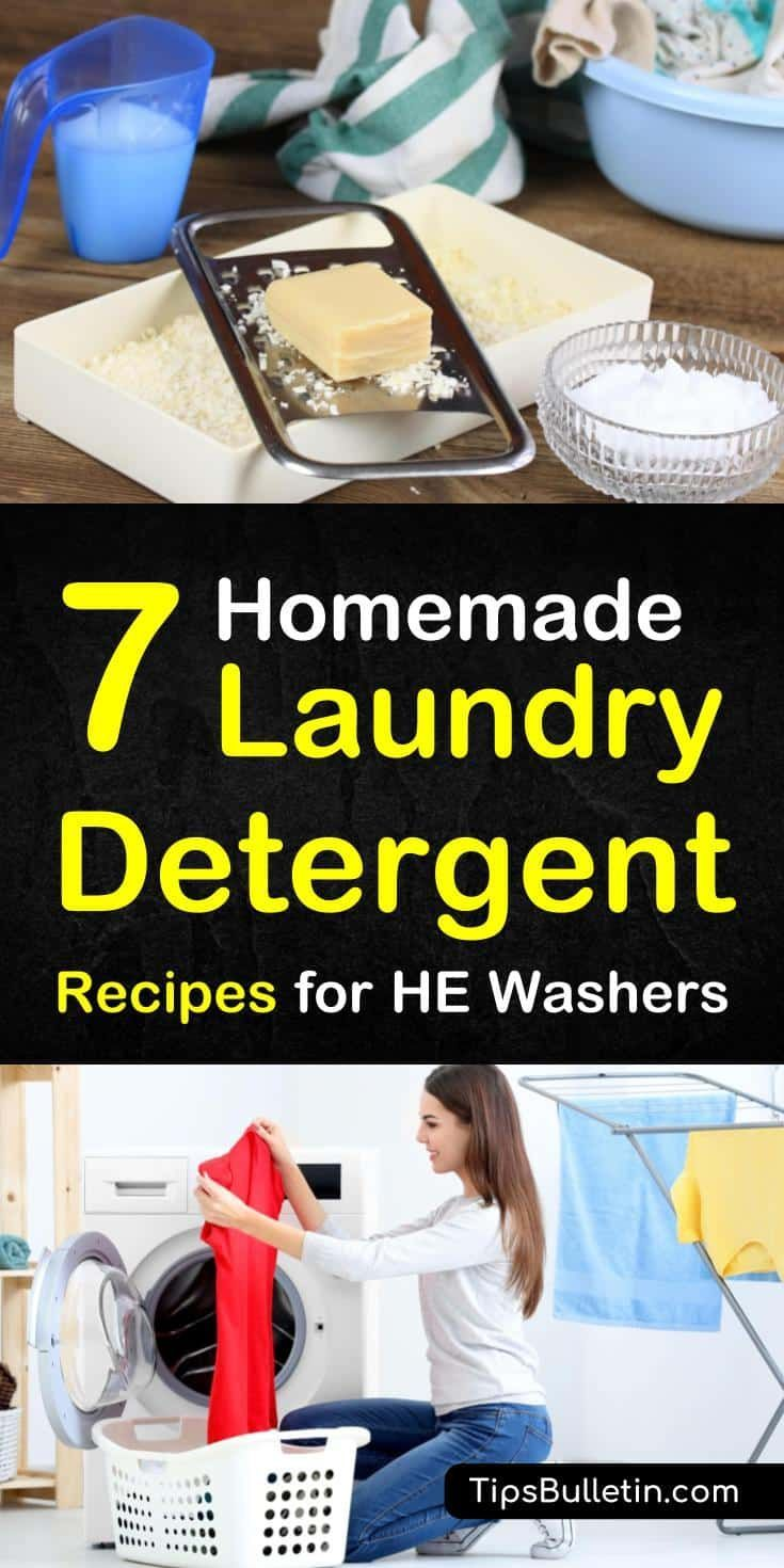 7 Clever Ways To Make Laundry Detergent For He Washers Homemade Laundry Detergent Laundry Detergent Recipe Homemade Detergent