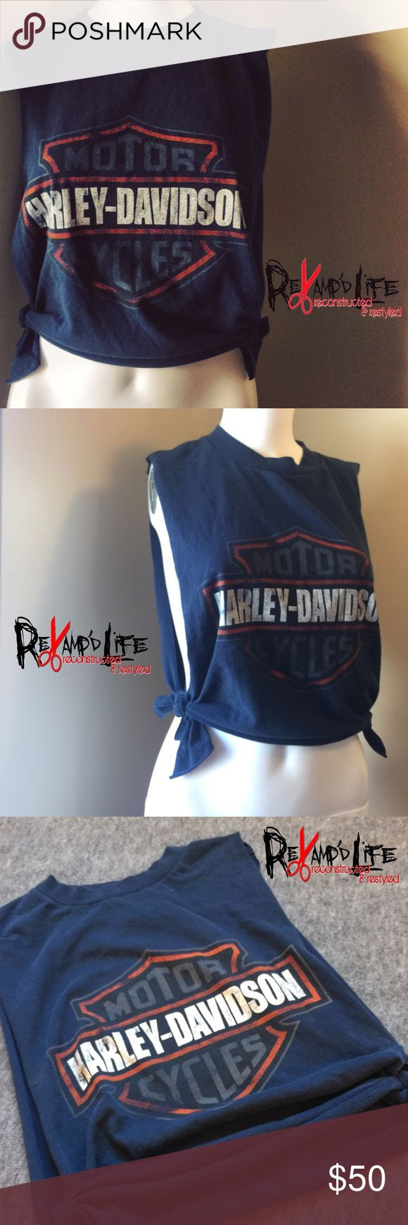 "Cut up vintage distressed Harley Davidson crop top •••☠️ BUNDLE & SAVE ☠️☠️ WILL CONSIDER *ALL* REASONABLE OFFERS!  Vintage Harley Davidson crop top • this cut up crop top is ""vintage"" ..distressed and faded. Somewhat heavyweight, comfortable. A real dark"