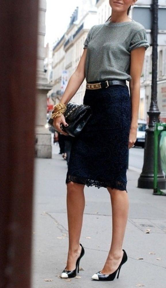 lace pencil skirt + tshirt + heels + rocker chic metal accessories that skirt into cute