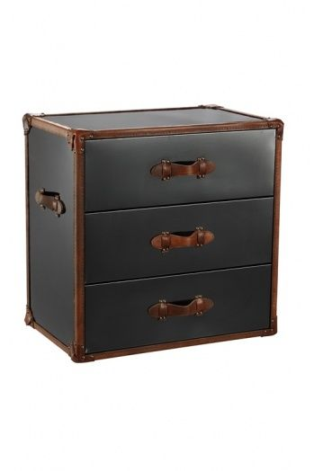3-Drawer large nightstand with brown full leather trimming on black stainless steel.