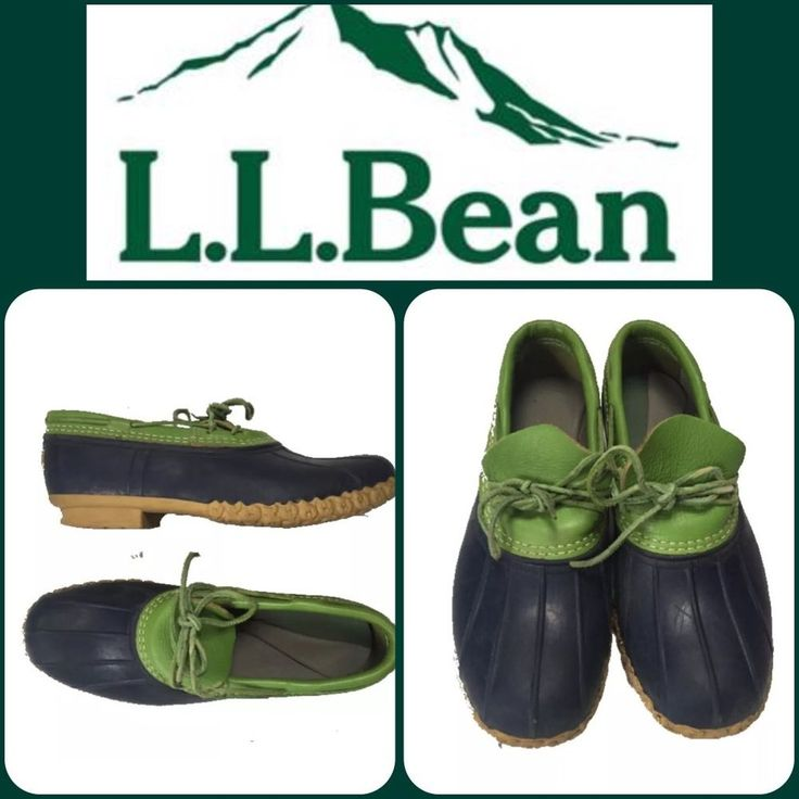 L L Bean Women's Duck Boot Shoes Navy Green Leather Rain Shoes Size 11 11 5 | eBay