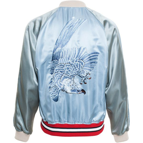 GUCCI Reversible Satin Bomber Jacket (178.875 RUB) ❤ liked on Polyvore featuring men's fashion, men's clothing, men's outerwear, men's jackets and jackets