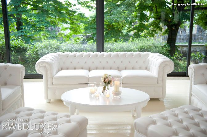 WedLuxe: beautiful #wedding in Tuscany captured by AMBphoto - #lounge area with all-white decor