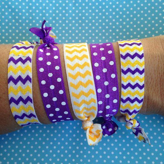 Set of 5 East Carolina University/Louisiana State University Fold Over Elastic Hair Ties