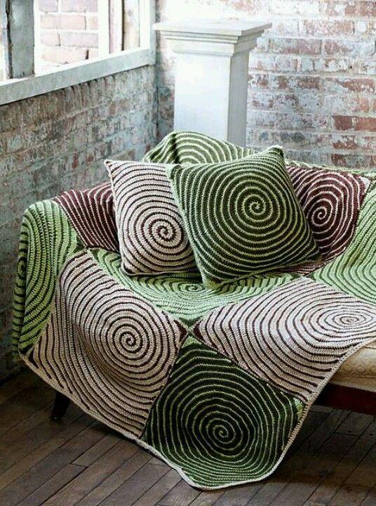 Crocheted pillows & blanket set.