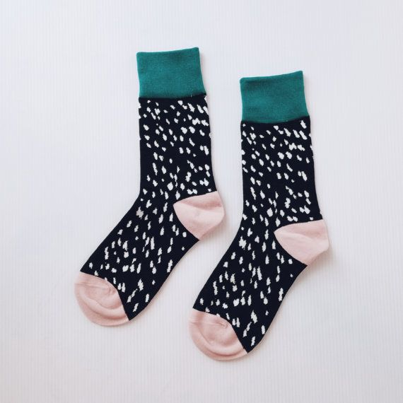This listing is for 1 pair of Colour Blocking Polka Dot Cotton Sock Stocking (Colour A)